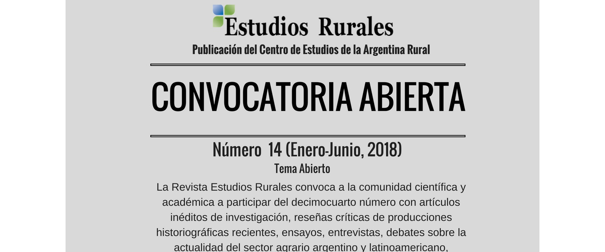 CONVOCATORIA-REVISTA ESTUDIOS RURALES